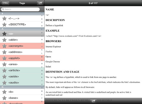 HTML5 Reference Guide iPad App