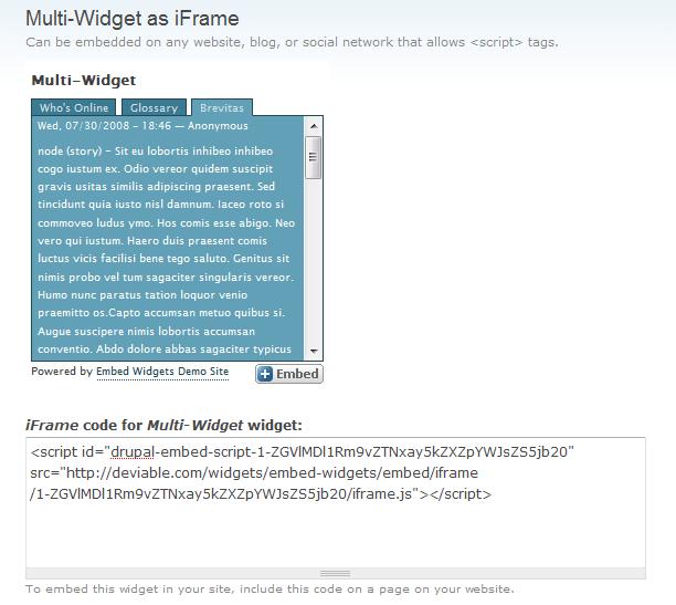 Embed widgets Drupal Module