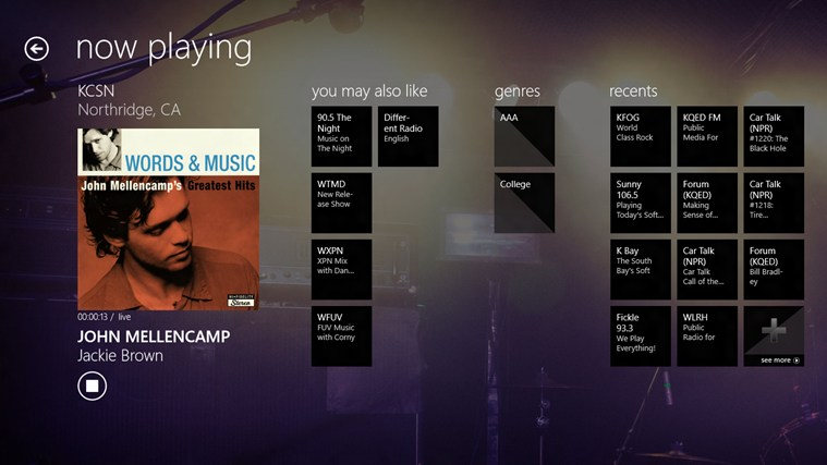 TuneIn Radio Windows 8 App