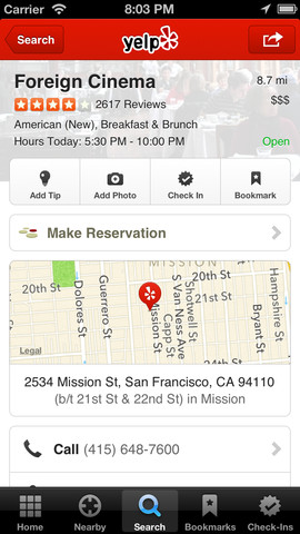 Yelp App for Mobile