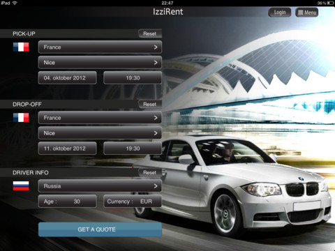 IzziRent Car Rental iPhone App