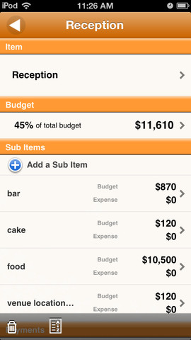 Wedding Budget iPhone App