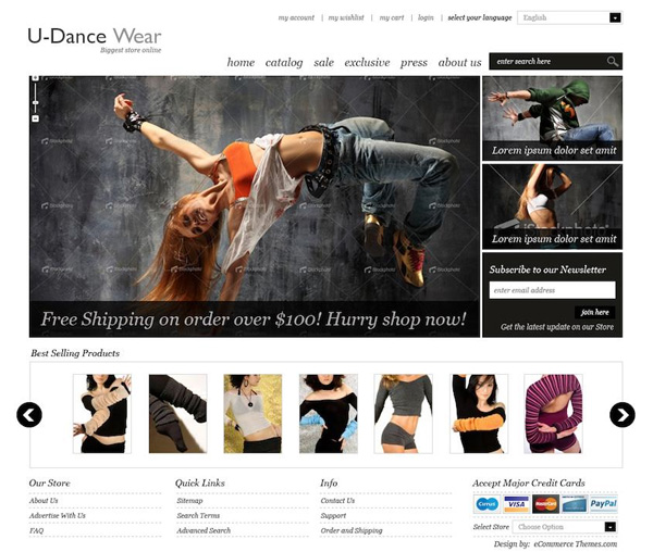 U Dance Wear Magento Theme