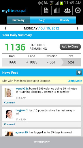 Calorie Counter MyFitnessPal Android App