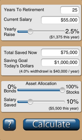 Retirement Savings Calculator iPhone App