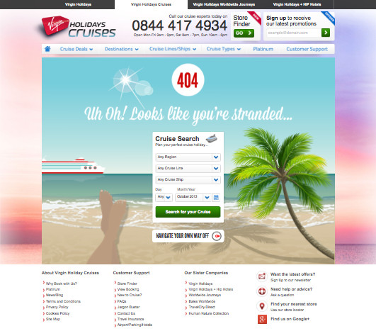Holidays Cruises 404 Page Design
