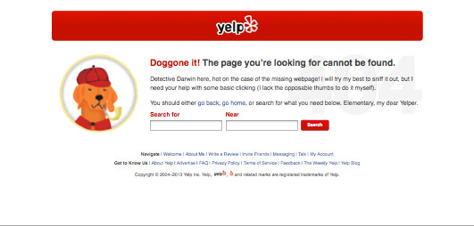 yelp 404 page Design