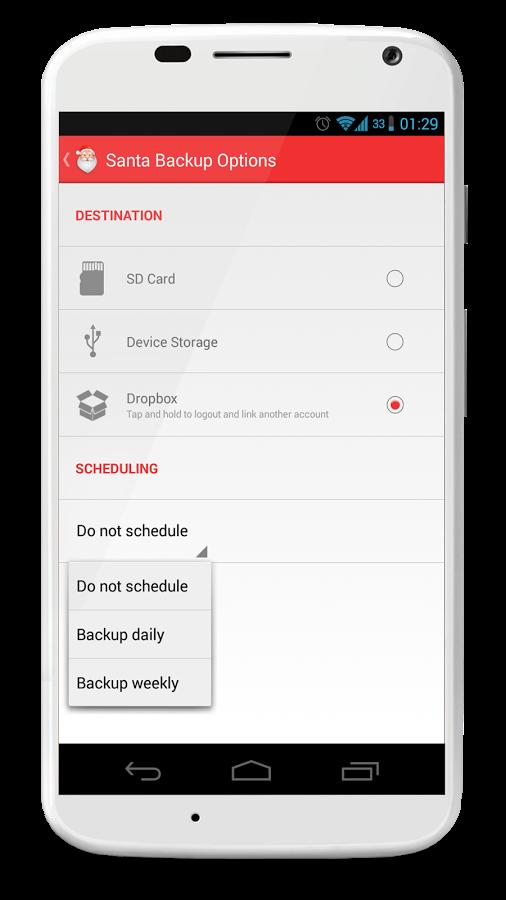 Santa Backup Option on Android Device
