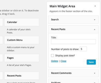 Using WordPress Recent Posts Widget