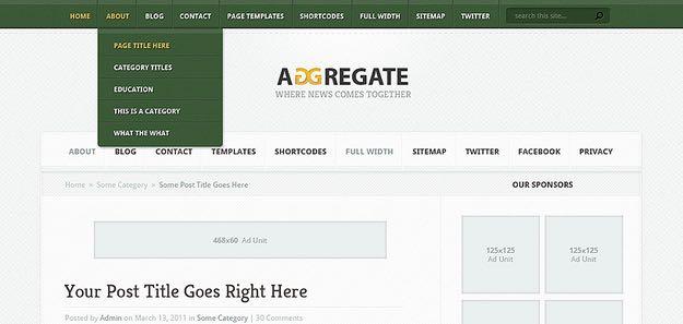 Aggregate WordPress Magazine style Theme