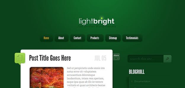 LightBright WordPress Tumblr Style Theme
