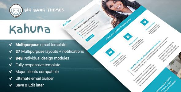 Kahuna Giant Multipurpose Email Builder Access Template