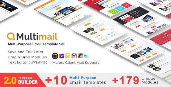 Multimail Responsive Email Set MailBuild Online Template