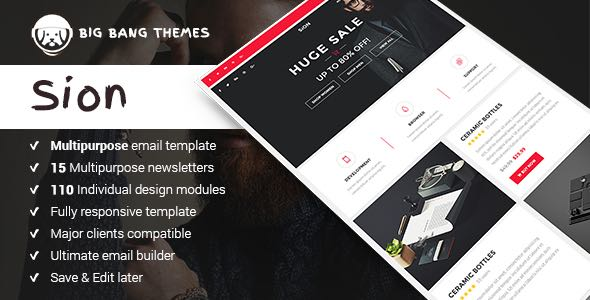 Sion 200 Modules Multipurpose Email Builder Access Template