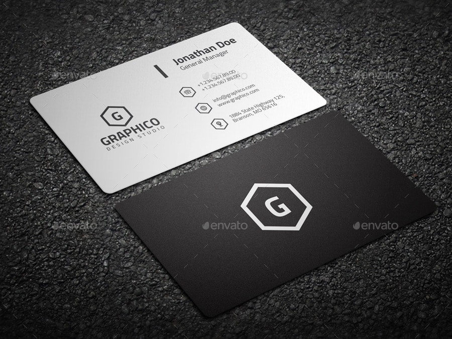 2 in 1 Black & White Business Card Template
