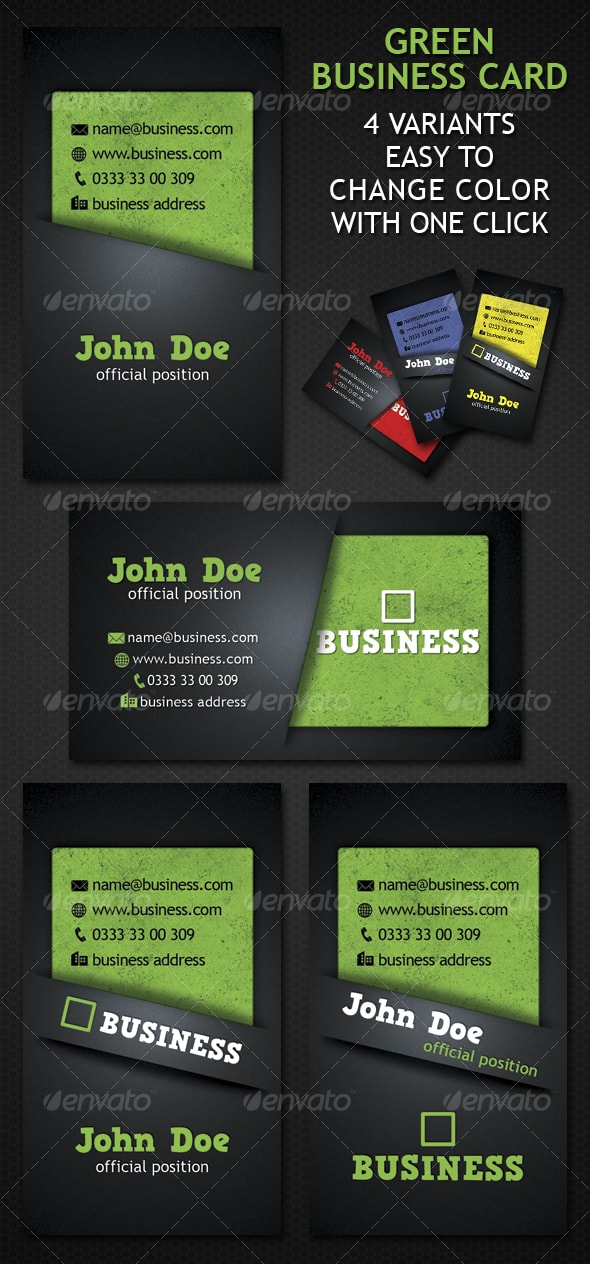 Green Business Card 4 Variation Template